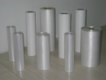 White transparent plastic bags on roll
