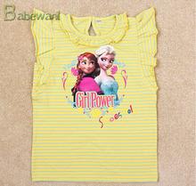 summer stylish girl t-shirt short sleeve tees for sweet children print Anna and Elsa frozen t-shirt el t-shirt