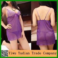Purple Transparent Nighty Ladies Sexy Night Sleeping Dress
