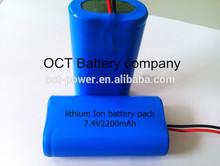 Digital camera battery pack 2200mah 7.4v ICR18650