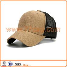 Wholesale Solid Burlap Hemp Trucker Mesh Hat And Cap