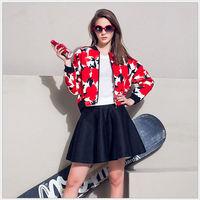 MS60113W fall baseball fashion printed women fancy ladies suits coat slim