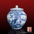 Pintados à mão decorativo elegante azul e branco da porcelana gengibre jar