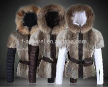 High quality women brand fur coat with fox fur collar