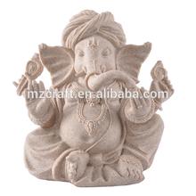 Lucky middle size Sand stone Indian Elephant God Ganesha buddha statue for office home decoration 14374