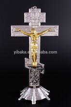 Altar de pie de plata 3 Bar ruso-ortodoxa cruz de jerusalén crucifijo Jesus oro
