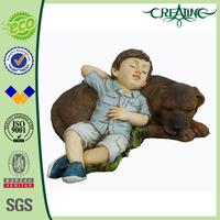 "14"" Ployresin Boy with Dog Garden Figurine for Home Decoration"