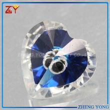 colorful cz pendant/blue glitter stone/heart gem
