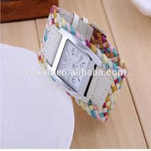 crazy sales knitted Cracked Leather Ribbon Wide band Strap Watch Fashion Wristwatch Women Ladies Knit Bracelet quartz Watch
