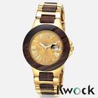 Newest Bewell Alloy metal Red Ebony Maple Wooden Date Waterproof Watch cheap Wooden Watch