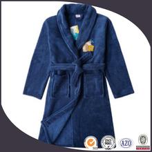 elegant 100% cotton terry velour blue embroidery baby bathrobe