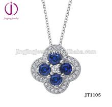Women's Crystal Blue Flower Lucky Four Leaf Clover Elegant 925 sterling silver Pendant
