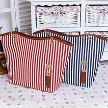 Classical design woman stripes bags canvas&pu shoulder bag SY5733