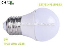 New 220v 5w e27 soft white light bulb vs daylight