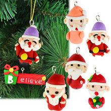 6Pcs Christmas Hanging Gift Santa Claus cartoon christmas ornament crafts 19349