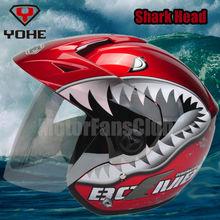 Adult Motorcycle Motocross shark Helmet 3/4 Open Face Half Helmet Full Shield Visor DOT Gear