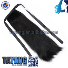 Cheap wholesale unprocessed brazilian real human hair drawstring ponytail