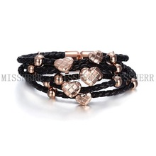 Lover leather stainless steel jewelry allergy for girls NSB322