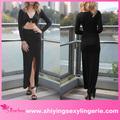 atacado de luxo preta drapeado assimétrico trabalho formal vestidos das mulheres