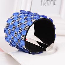 WLLB023 Top sale Rhinestone Leather Bracelet,strass magnetic snap bracelet
