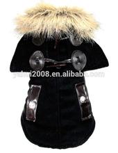 Black Color America Style Fur Collar Pet Dog Cloak Overcoat