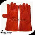 srsafety la mano protectora de partido de la vaca cuero guantes de soldadura de la línea de kevlar disponible