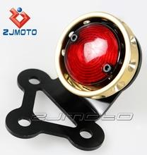 Gold Styled Drilled CHROME Billet Aluminum LED Tail Light Custom Fit For Bobber Chopper All Motorcycles