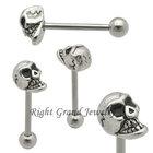 Hotsale Stainless Steel Men Skull Tongue Ring