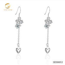 Vogue 925 silver heart and flower shape long earring wholesale