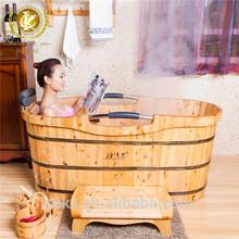 KX sale free standing wooden barrel bath tub double bathtub