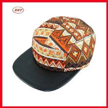 Fashion design pattern printing pu leather man snapback caps