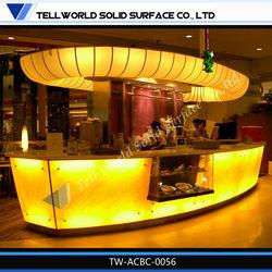 high gloss modern wine bar furniture curved glowing led bar counter