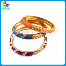 24kt gold bangles coloured shinning leather finished metal alloy enamel bangle bracelets wholesale jewellery
