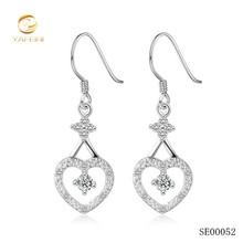 Women fashion 925 sterling silver heart dangle earring