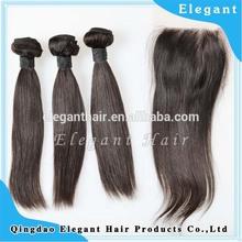 One Donor Virgin Hair Weft Large Stock virgin peruvian hair swiss lace base closure