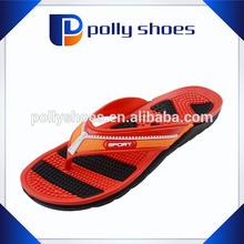 Zipper upper design beach pvc strap massge sole eva wedge flip flops
