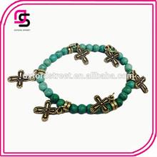 2014 Popular Beaded Bracelet Wholesale Silver Wood Bead Bracelet with Cross