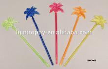 Bar accessories coco tree colorful plastic swizzle drink stirrers/sticks