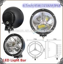 """Chrome black ring round led car additional light 7"""" 45w car led spot light 12v"""