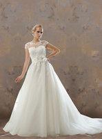 A Line Bateau Sweep/Brush Train Embellished AppliqueTulle Wedding Dress[RBT50682]