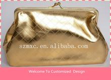 Golden Color Satin Beautiful Custom Travel Cosmetic Bag