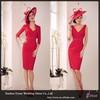 LJ704 Sexy Red Sheath V-Neck Knee Length Long Sleeve Jacket Chiffon Mother Of Bride Dress
