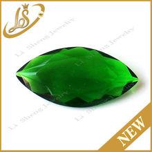 European cut green leaf shape low price glass stones