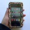 Leopard Pu Clutch Handle Strap Phone Wallet Purse Case Cover With Touch Window For Iphone 5 , Iphone 6 Plus ,Sumsung , HTC