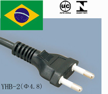 brazil flat head extension cord /power cord c13 /2 pin electrical power cords