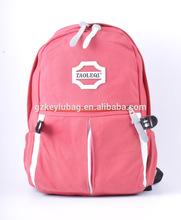 hot sale canvas practical pink school bag