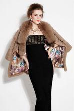 Luxury ladies long sleeve noble accoon fur coat