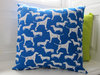 Cool Dog cushion cover,Cobalt Blue and White Doggie cushion cover, Sketched Dogs Printed cushion cover