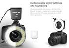 MACRO 100 LED RING Flash & Light for CANON T3i 600D Camera