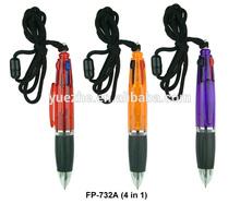 Short 4 in 1 ballpoint pen on a rope/Short ballpoint pen with logo printing